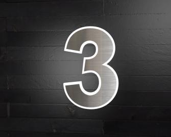 Beleuchtete-Led Edelstahl-Hausnummer 3