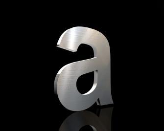 Edelstahl Hausnummer a 150/3mm (Arial bold)