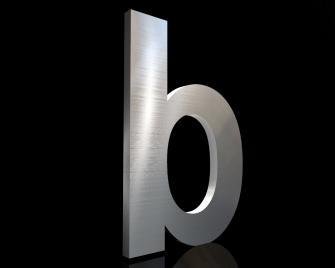Edelstahl Hausnummer b 150/3mm (Arial bold)