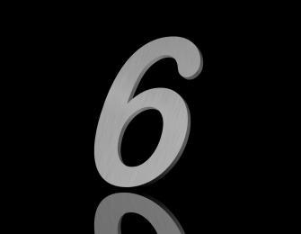 Edelstahl Hausnummer 6 150/6mm (Arial rounded)