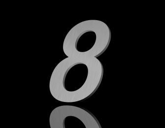 Edelstahl Hausnummer 8 150/6mm (Arial rounded)