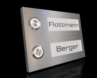 2 Familien Design Edelstahlklingel mit Led-Namesbeleuchtung zum austauschen