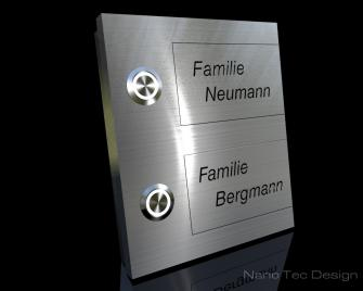 Design Edelstahlklingel mit Gravurschild zum auswechseln extra Stark 6mm