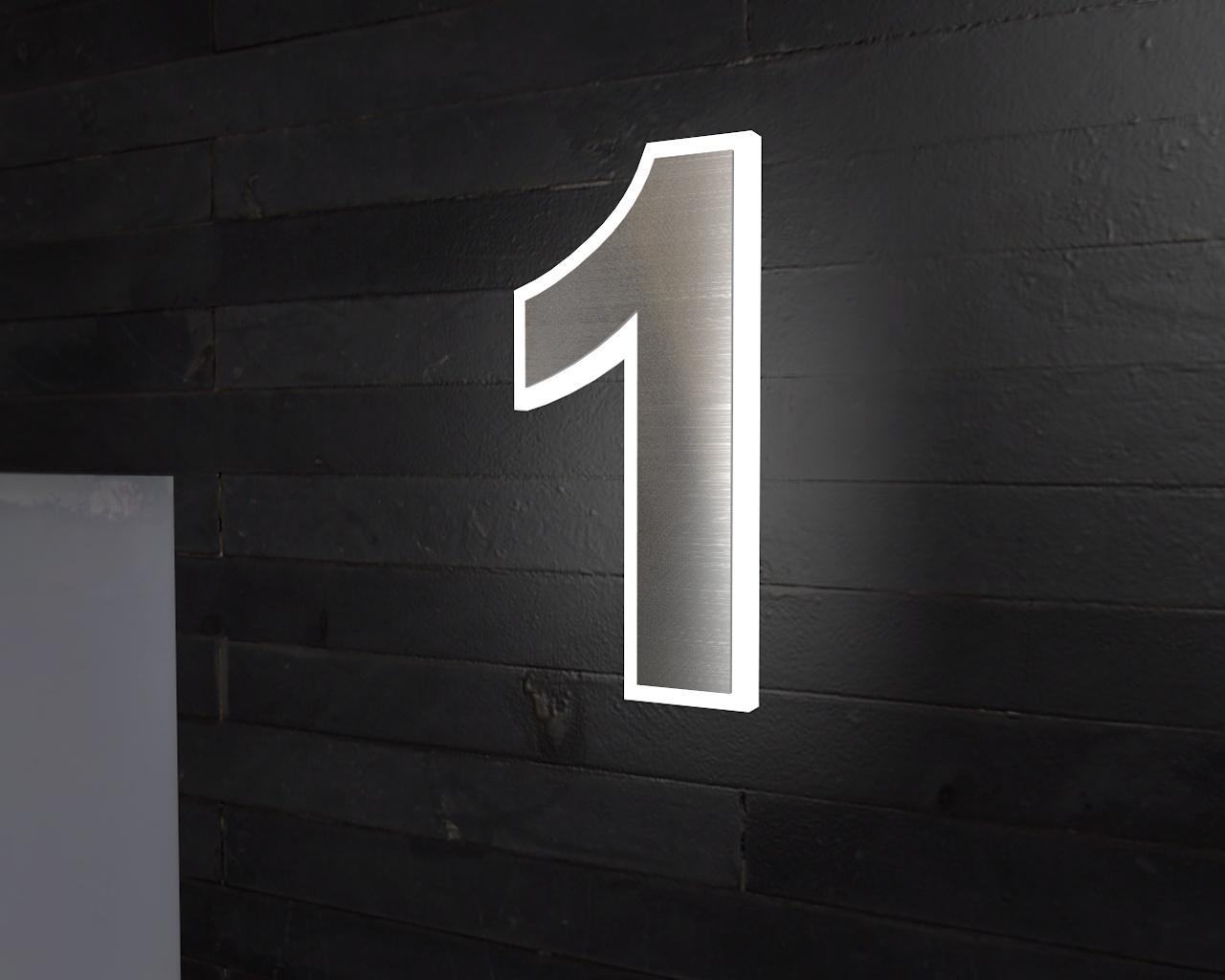 Edelstahl Hausnummer | Beleuchtete-Led Edelstahl-Hausnummer 1
