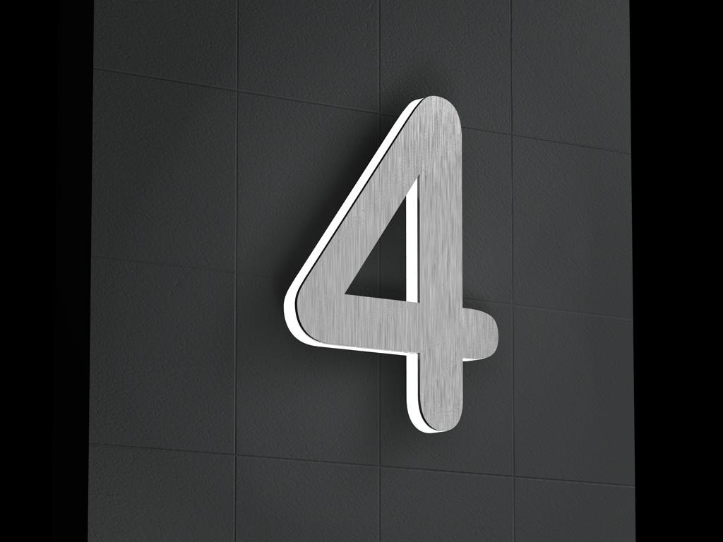 Edelstahl Hausnummer   Beleuchtete-Led Edelstahl-Hausnummer 4