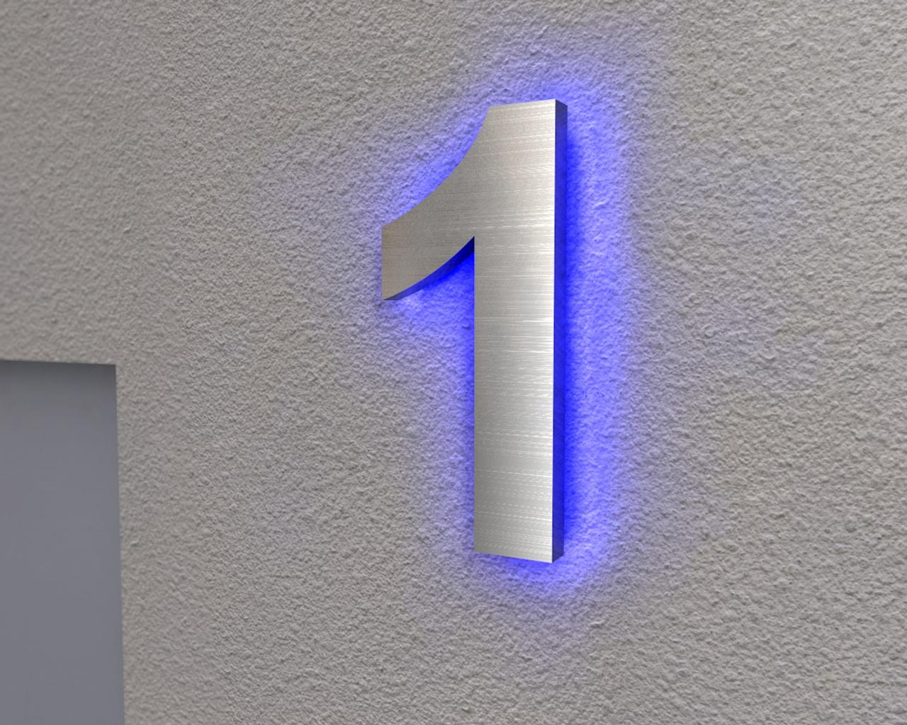 edelstahl hausnummer beleuchtete hausnummer 1 ambilight. Black Bedroom Furniture Sets. Home Design Ideas