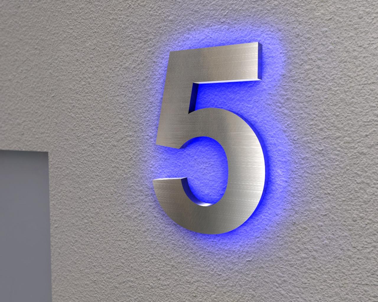 Beleuchtete Hausnummer 5 Ambilight