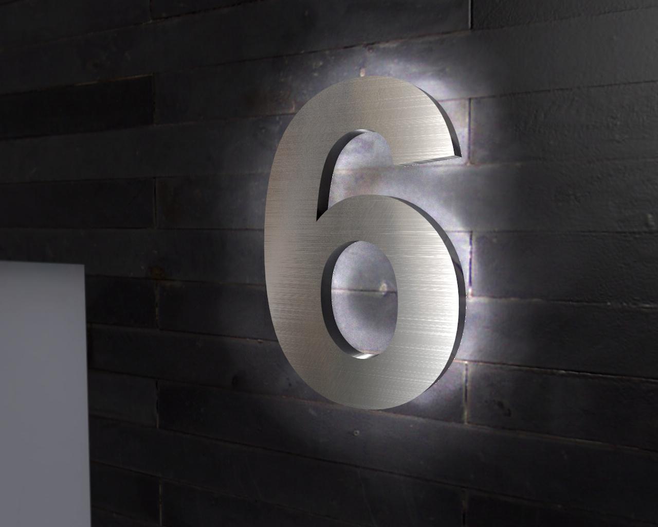 beleuchtete hausnummer mit d mmerungsschalter edelstahl. Black Bedroom Furniture Sets. Home Design Ideas