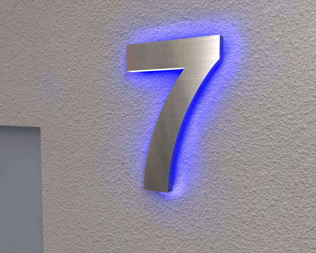 edelstahl hausnummer beleuchtete hausnummer 7 ambilight. Black Bedroom Furniture Sets. Home Design Ideas