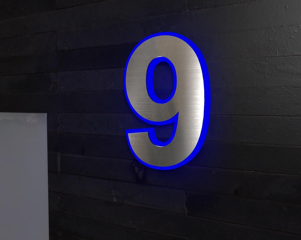 edelstahl hausnummer beleuchtete led edelstahl hausnummer 9. Black Bedroom Furniture Sets. Home Design Ideas