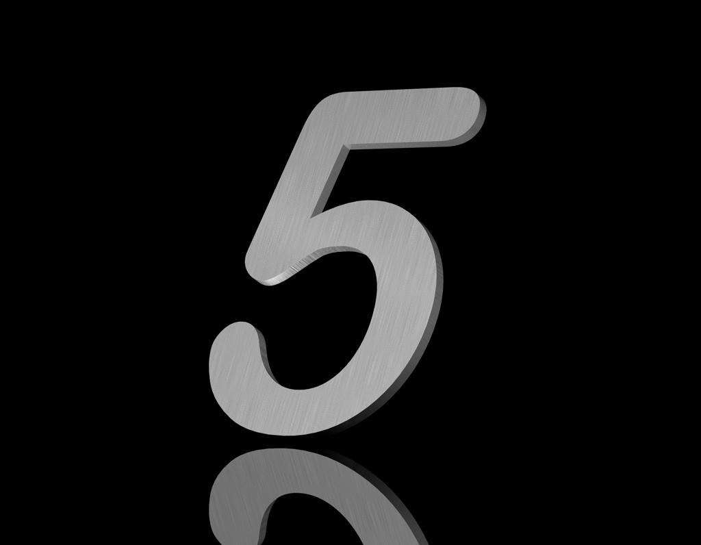 Edelstahl Hausnummer 5 150/6mm (Arial rounded)