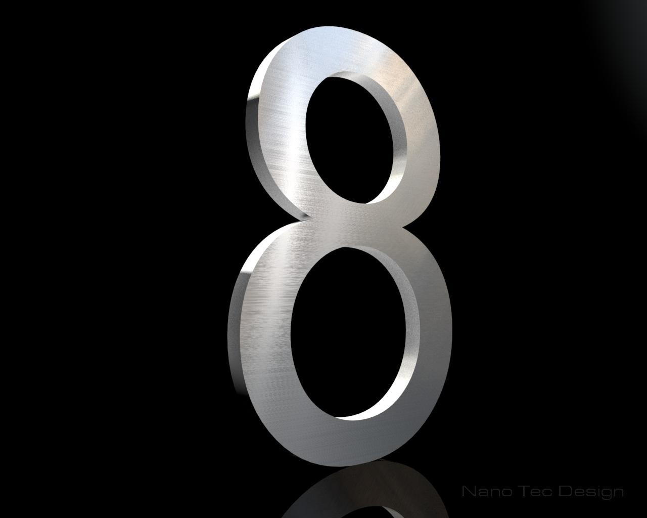 Edelstahl Hausnummer 8 200/6mm (Arial bold)