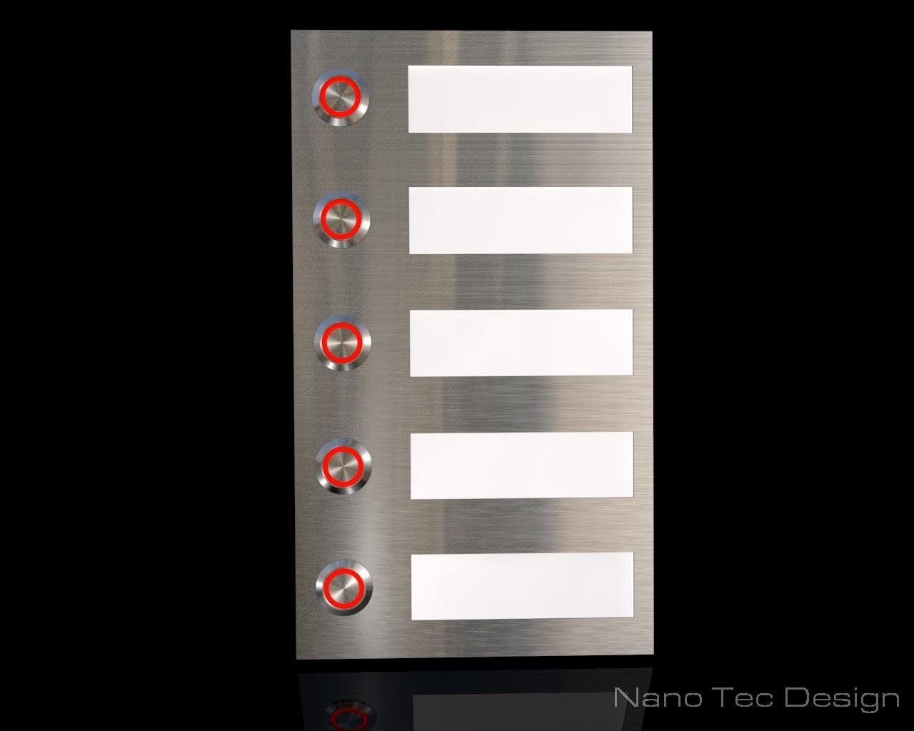 5 Familien Edelstahlklingel mit Led- Beleuchtung