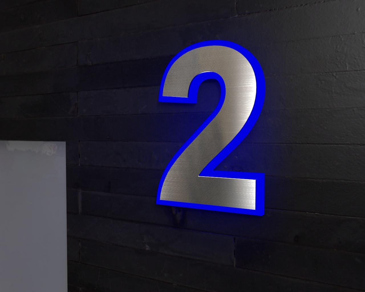 Beleuchtete-Led Edelstahl-Hausnummer 2