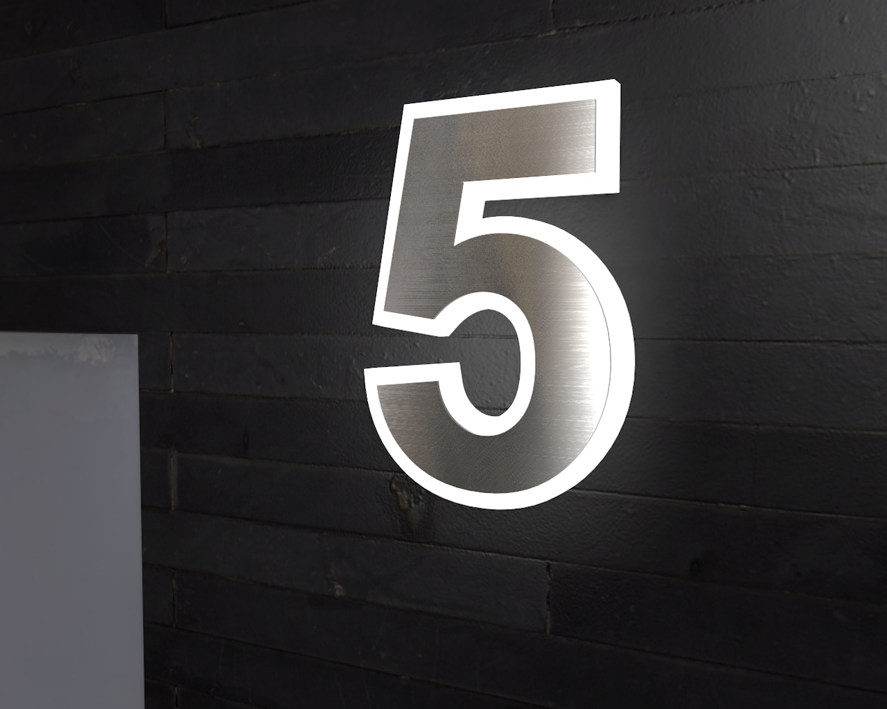 edelstahl hausnummer beleuchtete hausnummer 8 ambilight. Black Bedroom Furniture Sets. Home Design Ideas
