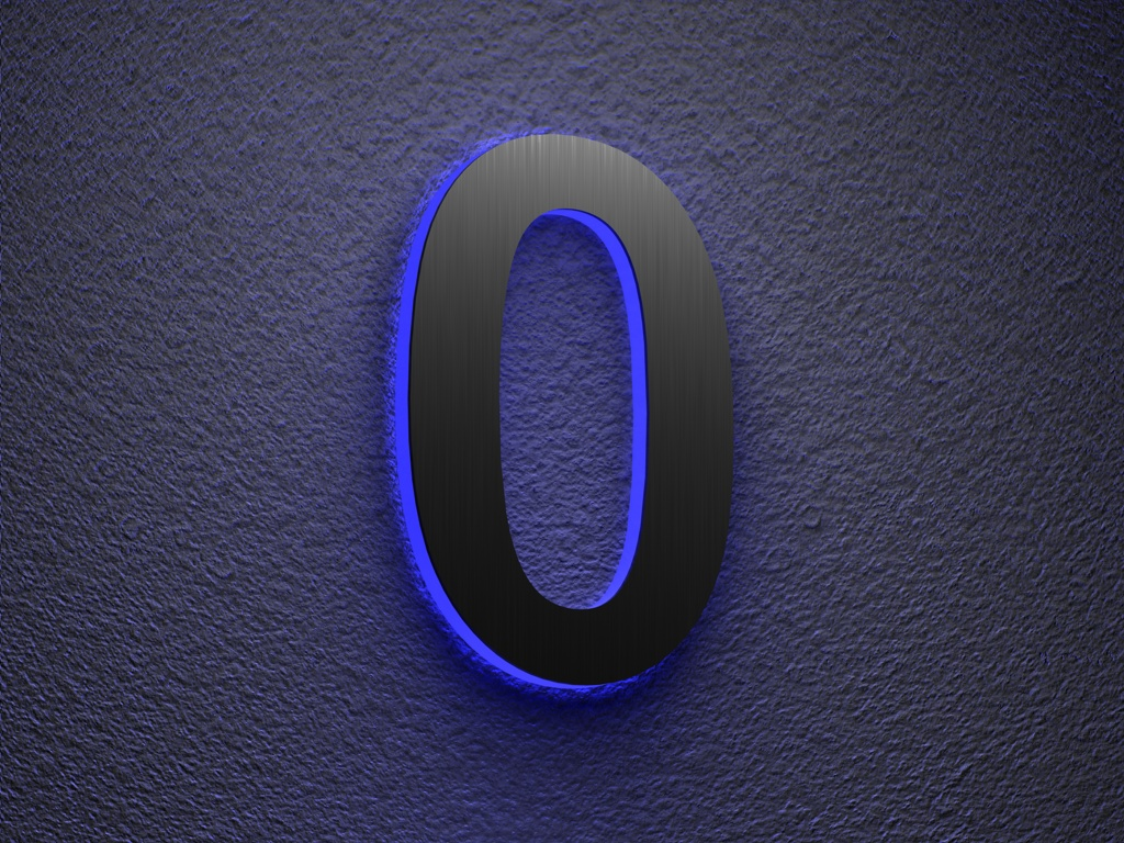 Beleuchtete-Led Edelstahl-Hausnummer 0