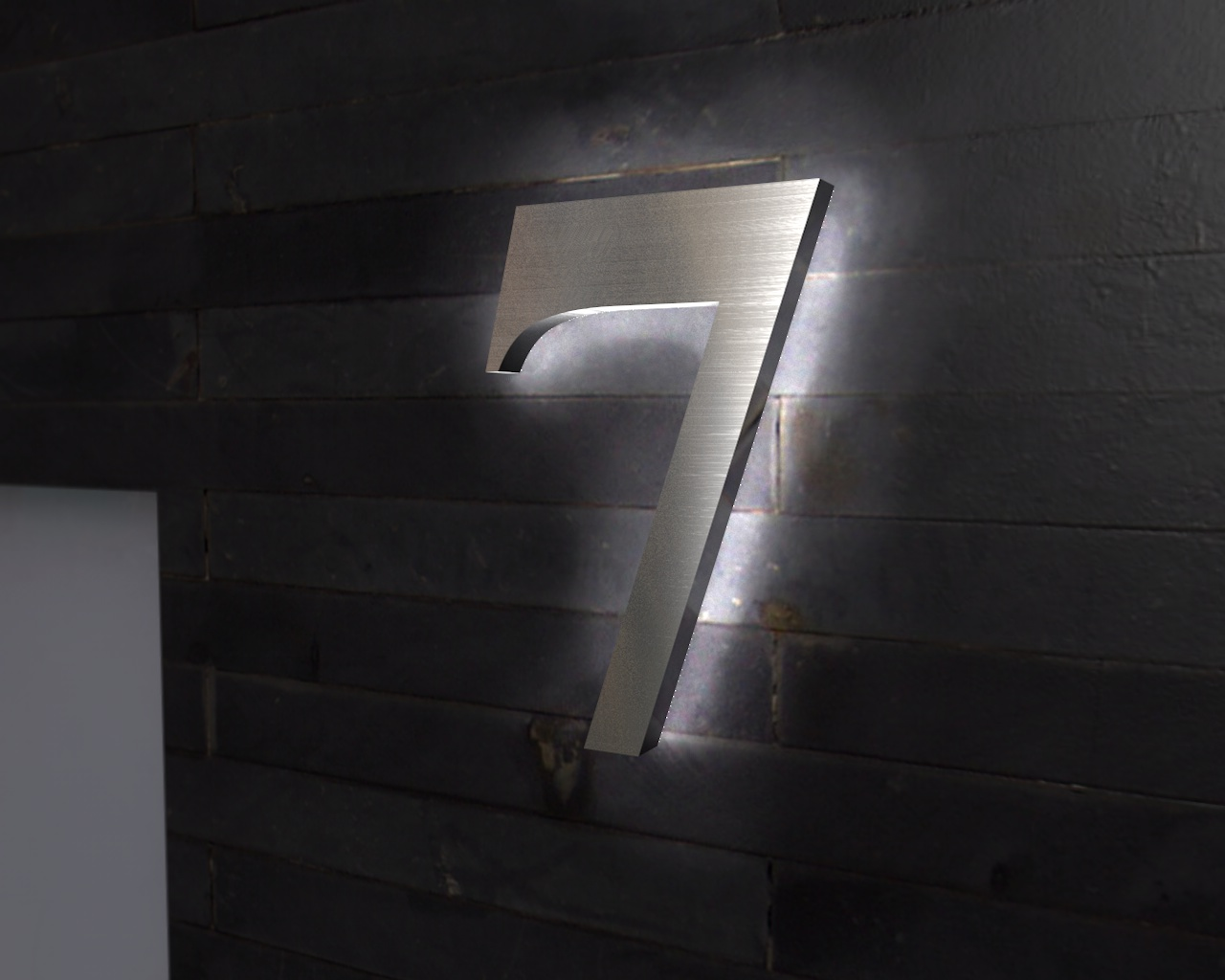 edelstahl hausnummer beleuchtete led edelstahl hausnummer 7. Black Bedroom Furniture Sets. Home Design Ideas