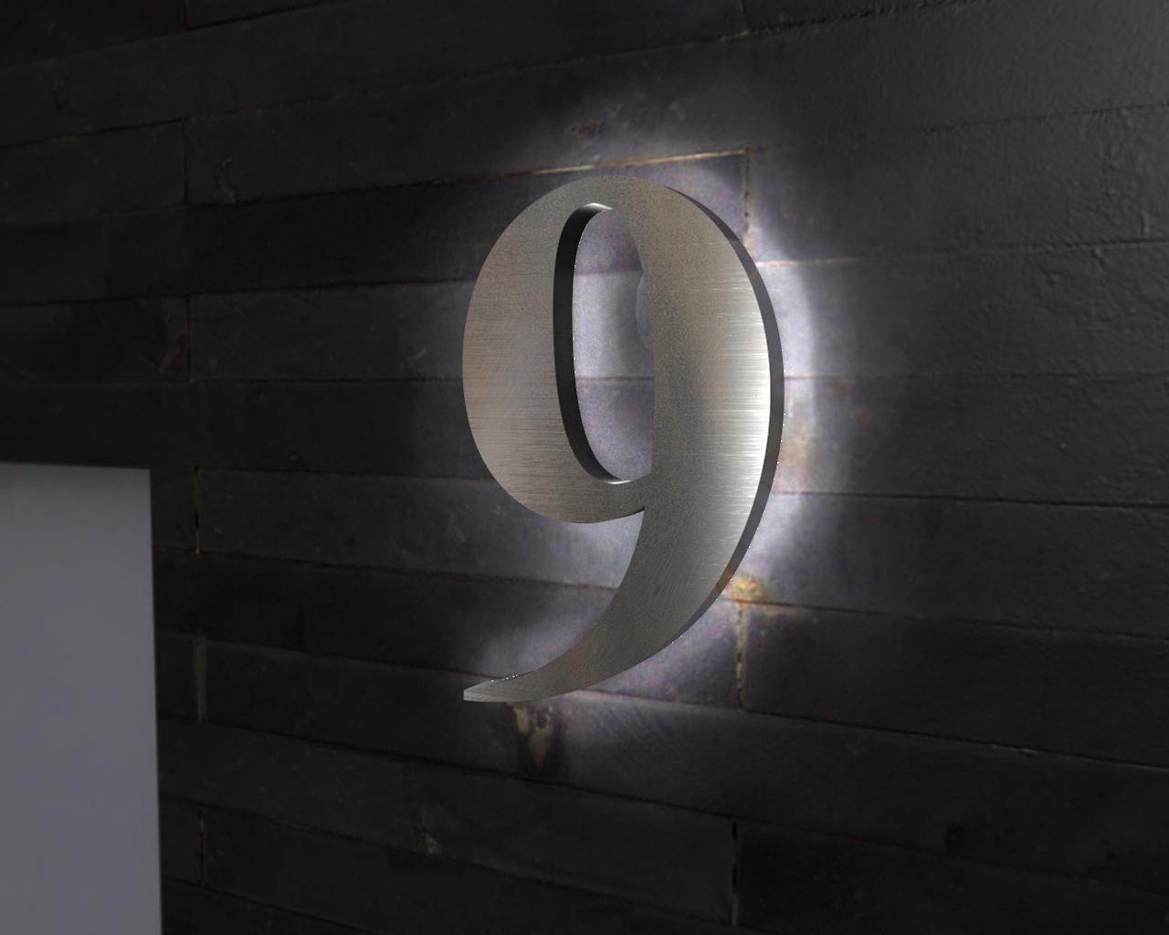 Beleuchtete-Led Edelstahl-Hausnummer 9