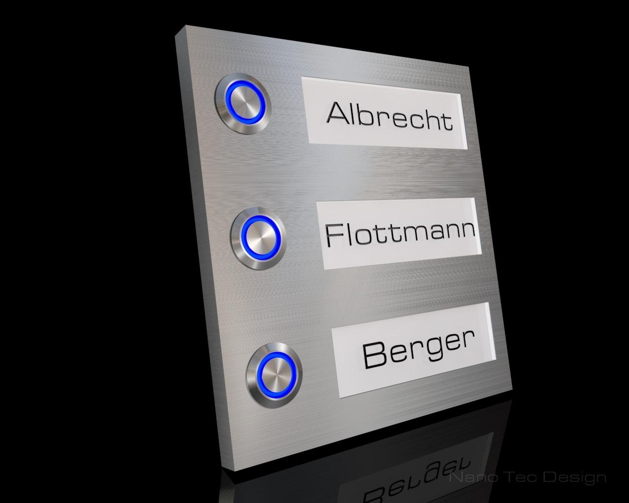 Design Edelstahlklingel mit Led-Namesbeleuchtung zum auswechseln