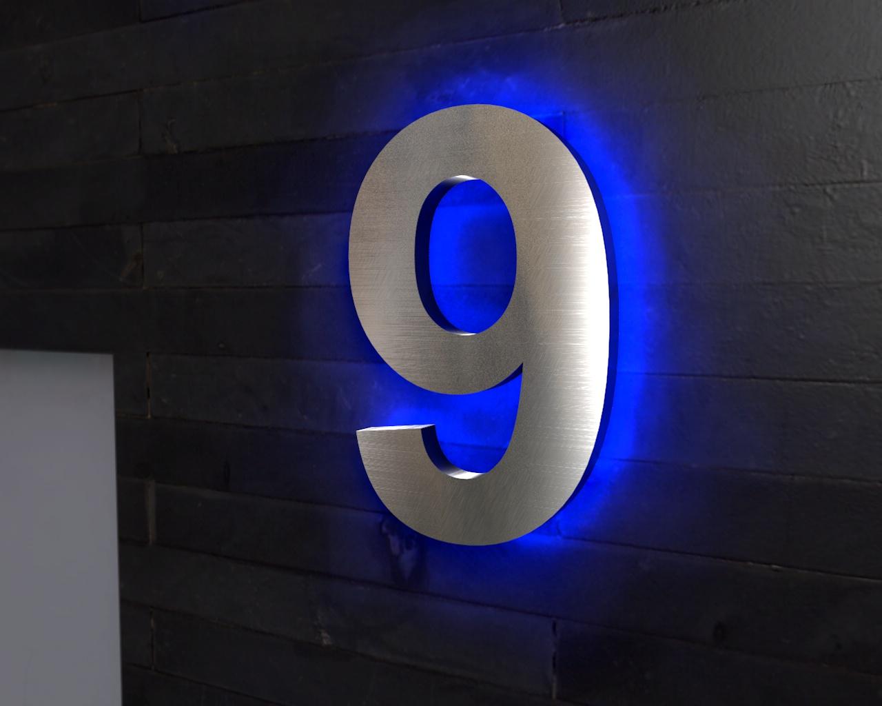Beleuchtete Hausnummer 9 Ambilight