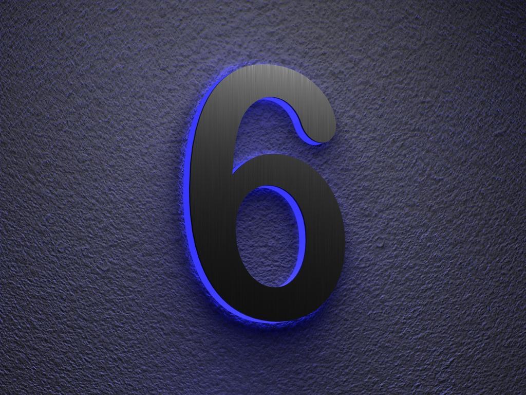 edelstahl hausnummer beleuchtete led edelstahl hausnummer 6. Black Bedroom Furniture Sets. Home Design Ideas